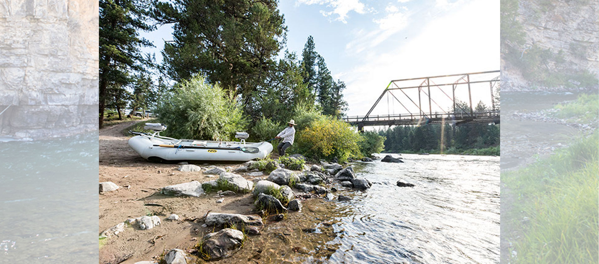 Fly Fishing Guide pulling a Raft to the Blackfoot River boat take-in