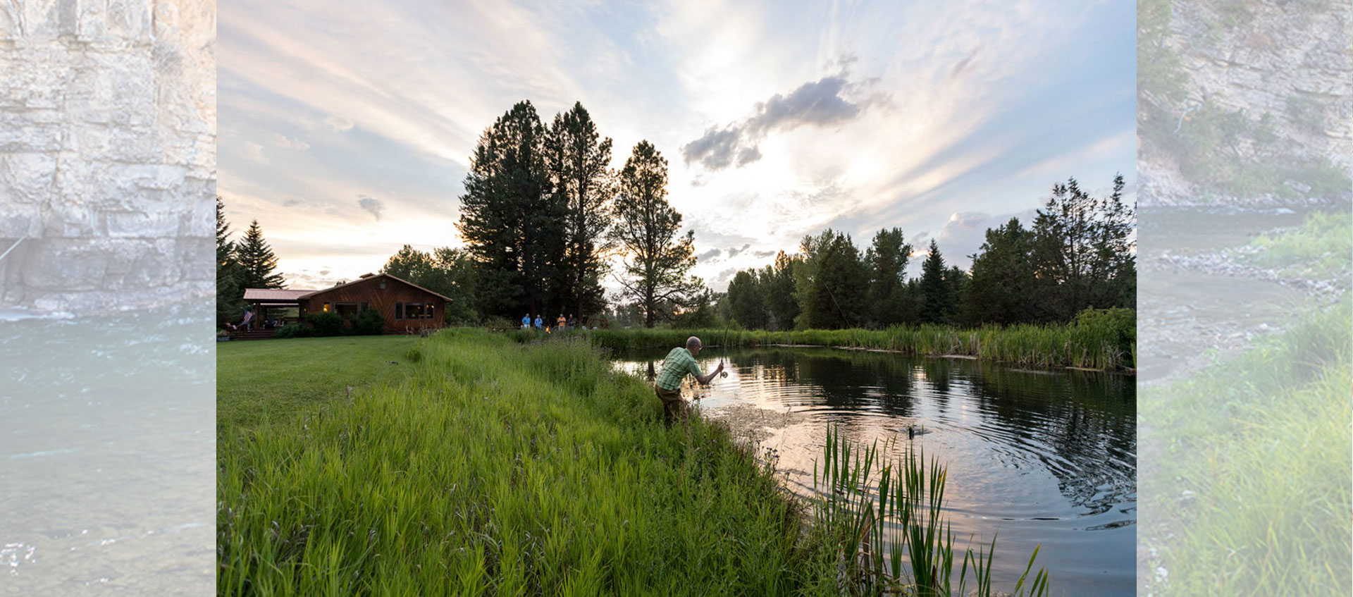 Fishing Pond at the North Fork Crossing Lodge in Montana