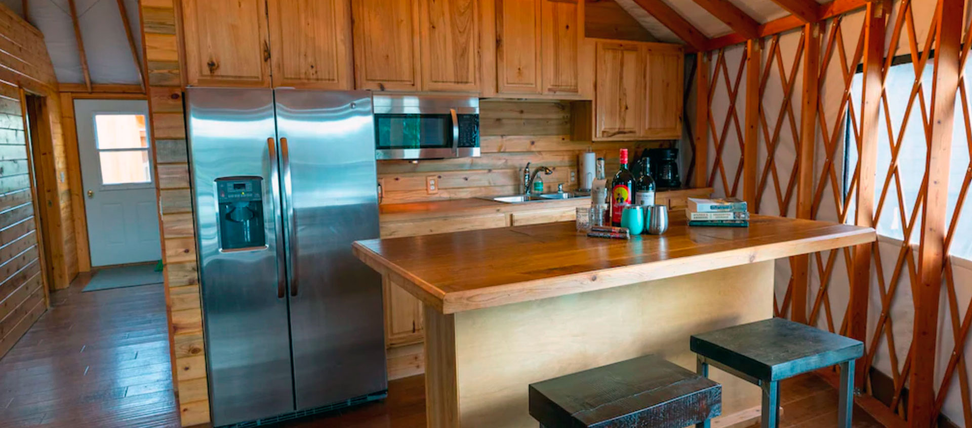 The Kitchen in The Yurt at Craig | Fly Fishing Vacation Rental in Craig, MT